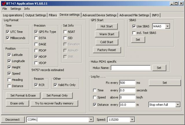 BT747 1.60.11 Device Settings