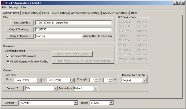 linux | GPS Data Logger Software - BT747