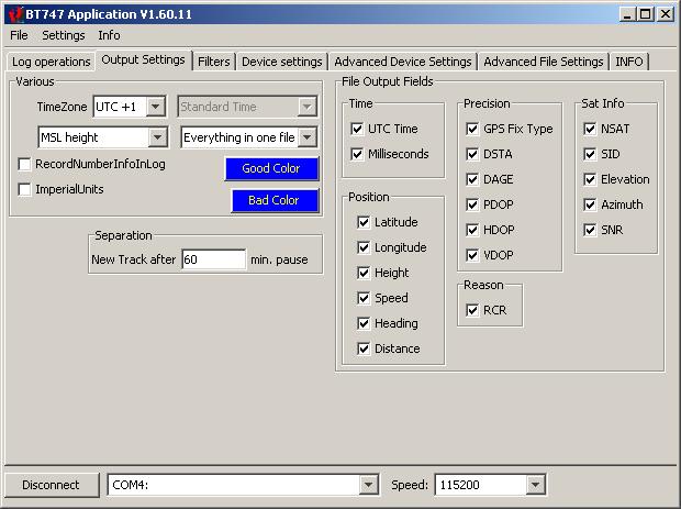 BT747 1.60.11 Output Settings